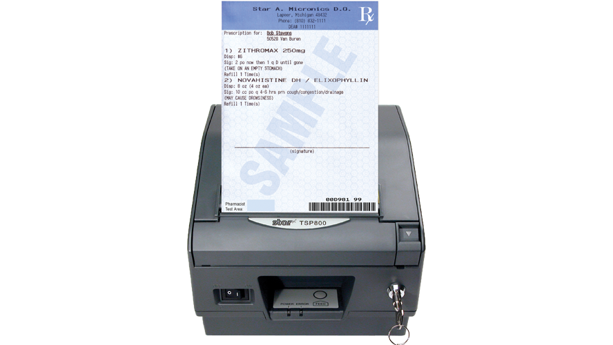 star micronics tsp847II rx thermal locking prescription printer